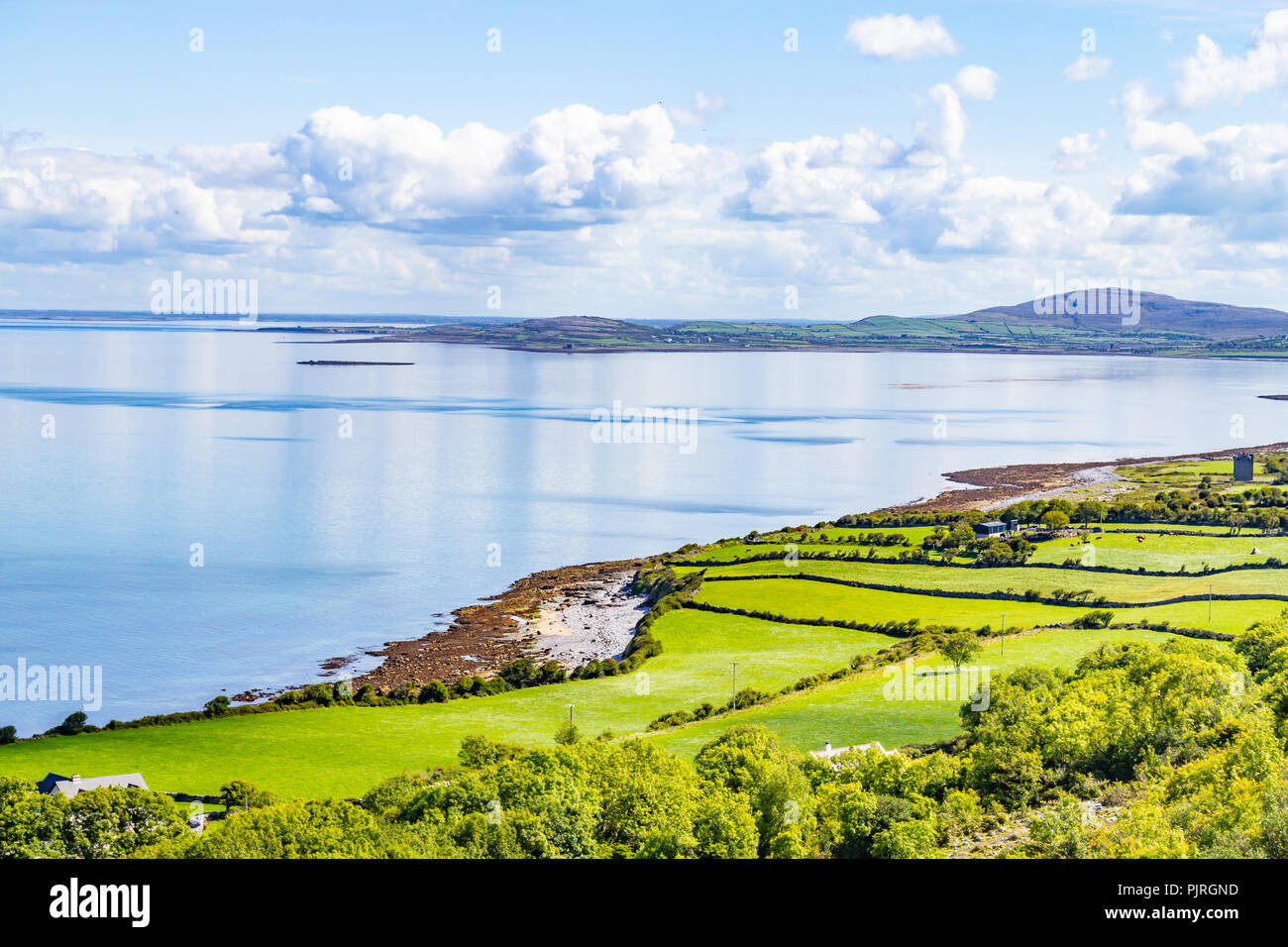 Farms and beach in Ballyvaughan, Clare, Ireland - Stock Image