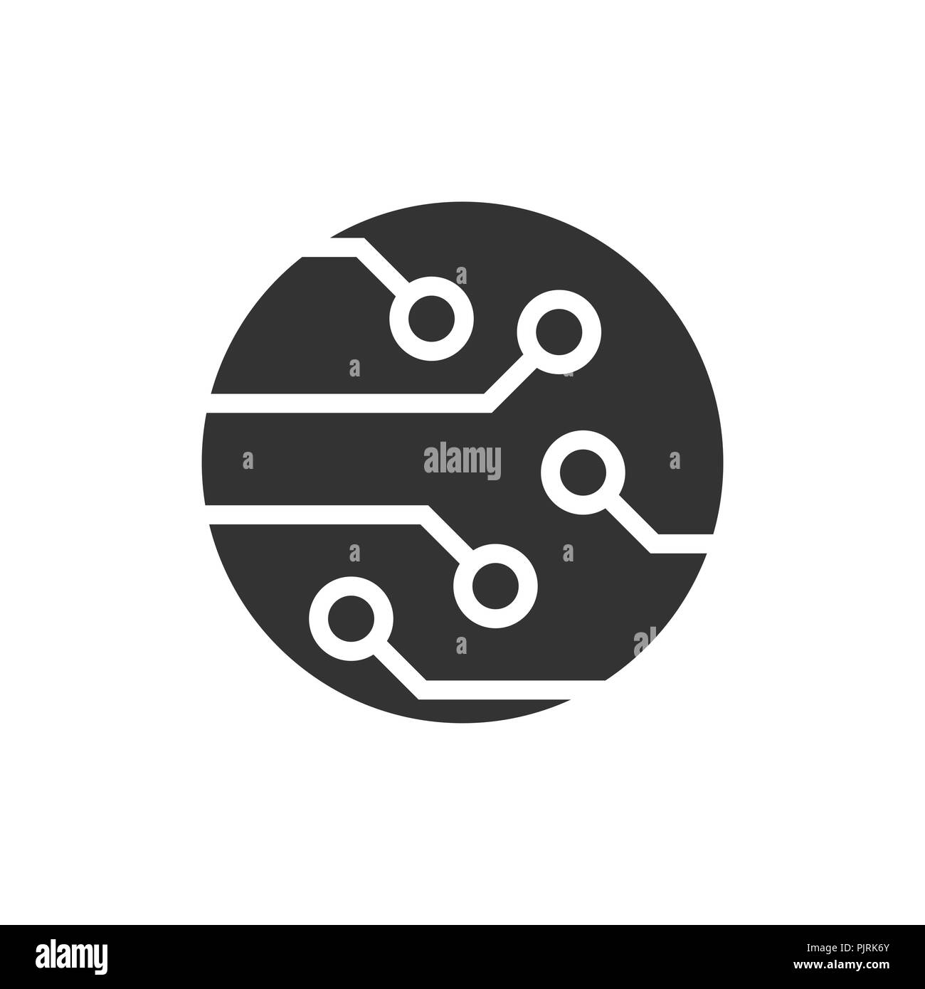 Circuit Board Icon In Flat Style Technology Microchip Vector Logo Illustration On White Isolated Background Processor Motherboard Business Concept