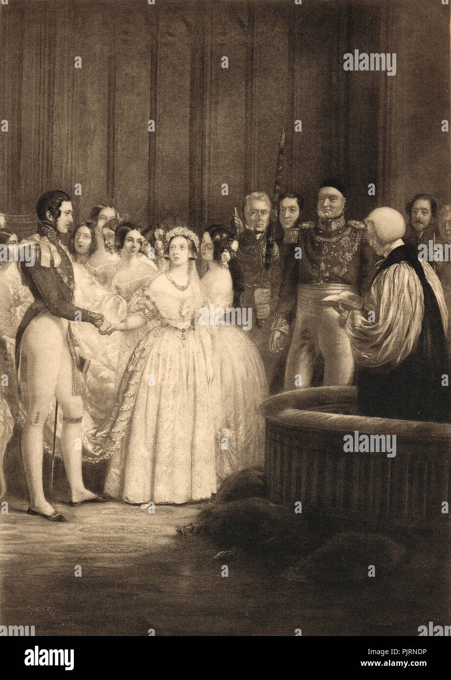The Marriage of Queen Victoria and Prince Albert, 10 February 1840, Chapel Royal, St. James's Palace, London, England - Stock Image