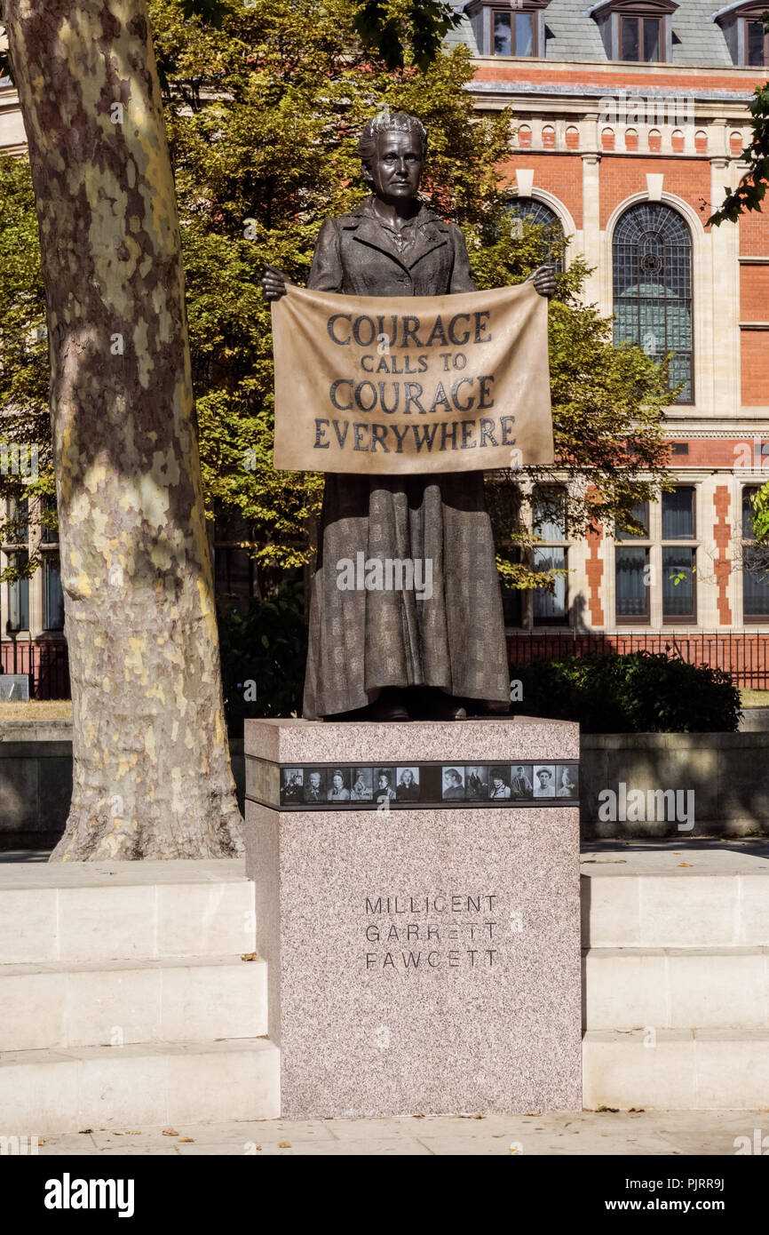 The statue of Millicent Fawcett, the suffragist leader in Parliament Square, London England United Kingdom UK - Stock Image