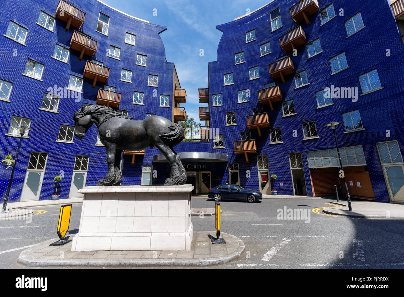 The Circle Real Estate with a sculpture of Jacob the Dray Horse, London England United Kingdom UK Stock Photo