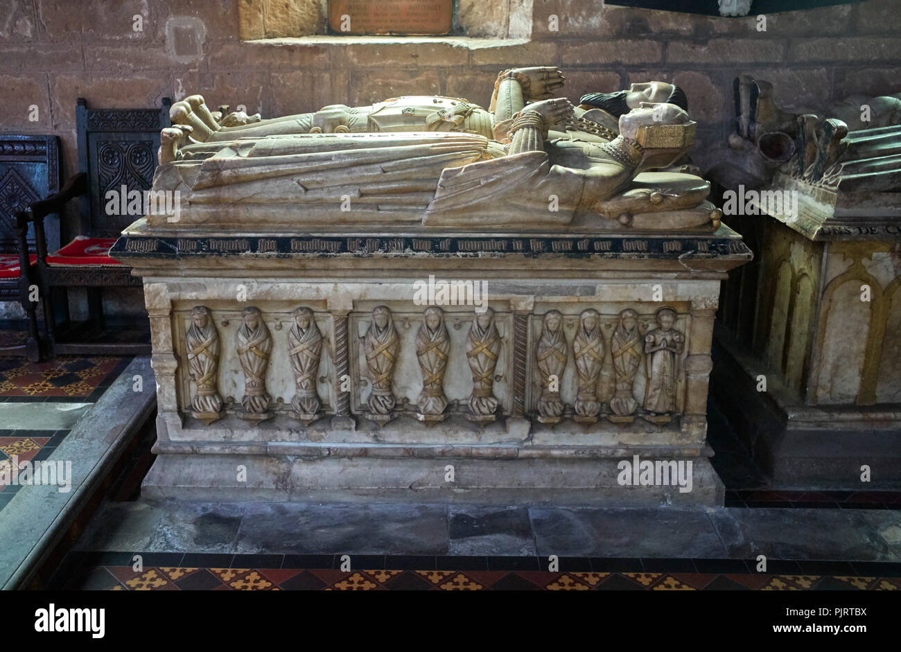 The tomb of Sir John Giffard who died in 1556 with his wives at St Mary and St Chad Church in Brewood, South Shropshire - Stock Image