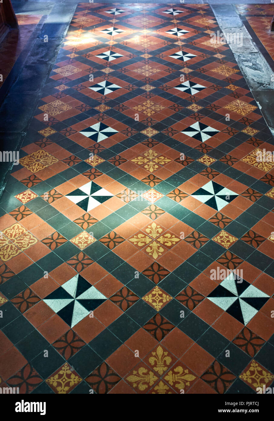 Floor tiles at St Mary and St Chad church, Brewood, South Staffordshire - Stock Image