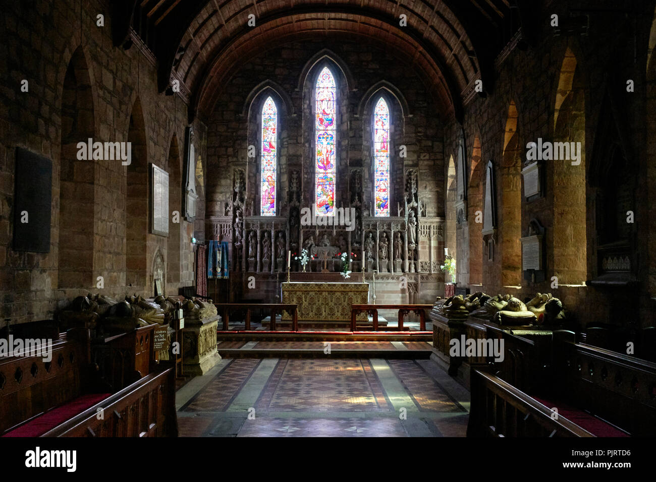 St Mary the Virgin and St Chad church interior at Brewood with the Giffard family tombs - Stock Image
