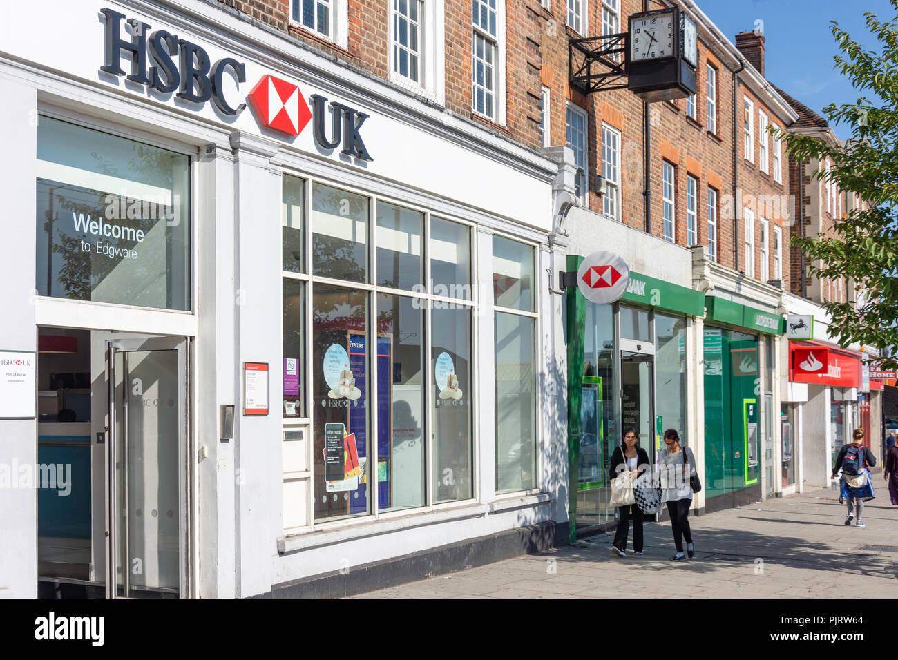 Row of retail banks, Station Road, Edgware, London Borough of Barnet, Greater London, England, United Kingdom - Stock Image