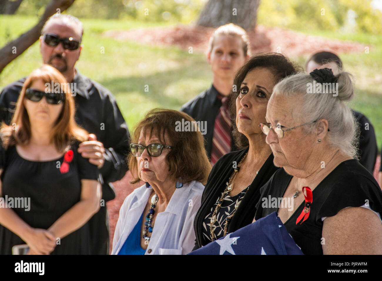 A military funeral for a veteran of the Korean an Vietnam Wars. - Stock Image