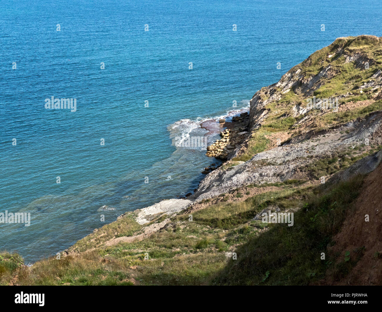 The more resitant rocks do not get eroded so quickly and form a slab or wave cut platform at the base of cliffs in the tidal zone, - Stock Image