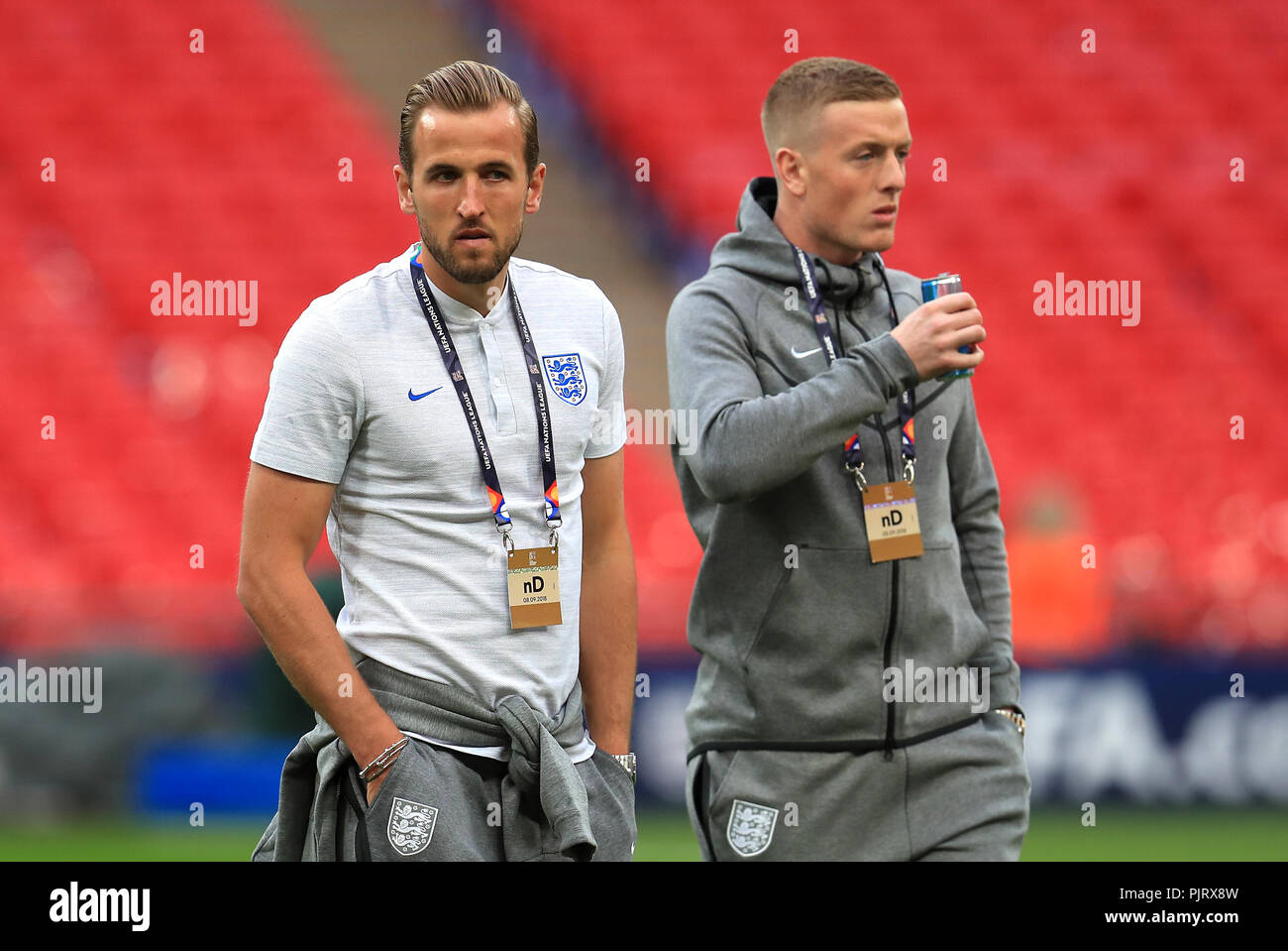 England S Harry Kane Left Prior To The Uefa Nations League League A Group Four Match At Wembley Stadium London Press Association Photo Picture Date Saturday September 8 2018 See Pa Story Soccer