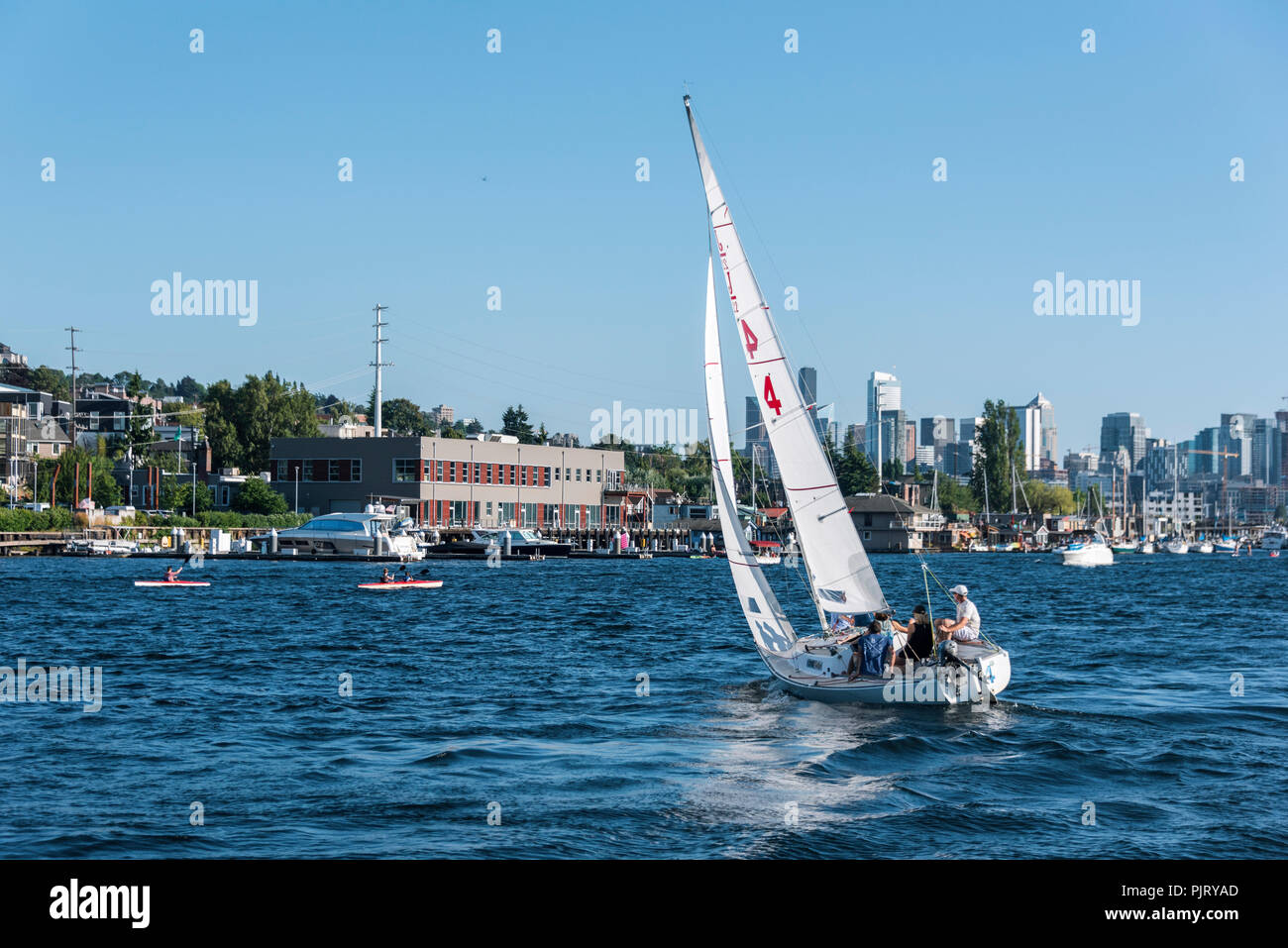 Sailboat on Lake Union in Summer - Stock Image