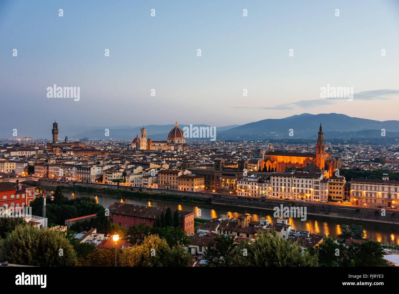 Pre-dawn Sunrise in Florence - Stock Image