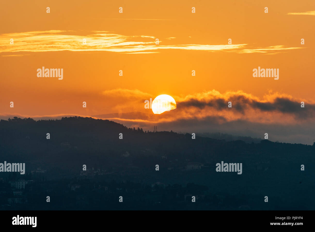 Sunrise Silhouette in Florence - Stock Image