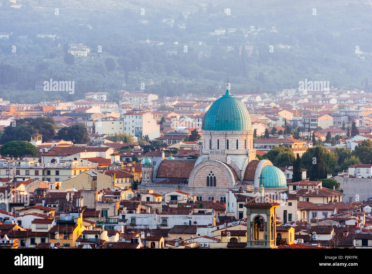Great Synagogue of Florence at Sunrise - Stock Image