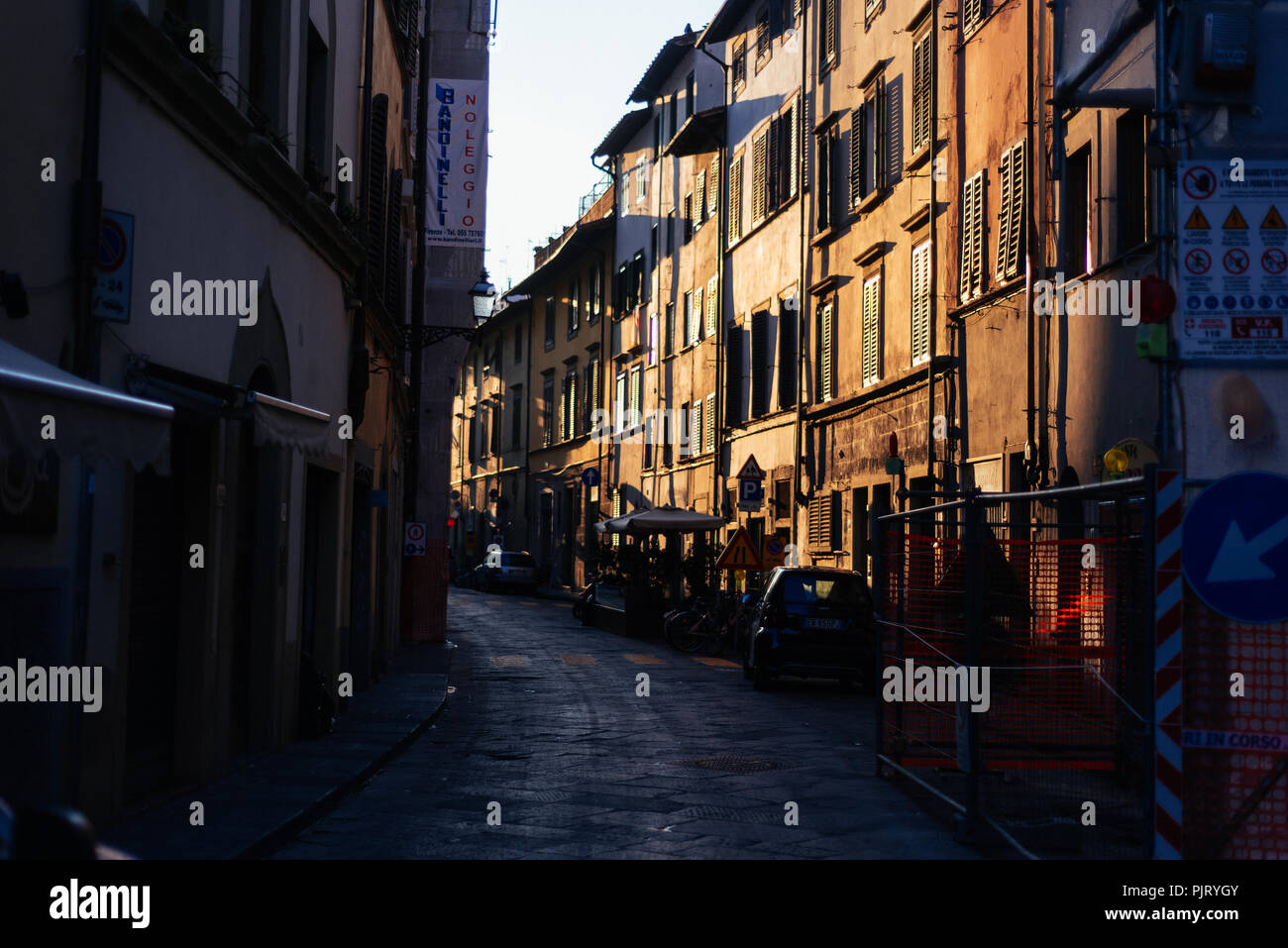 Florence Streets at Sunrise - Stock Image