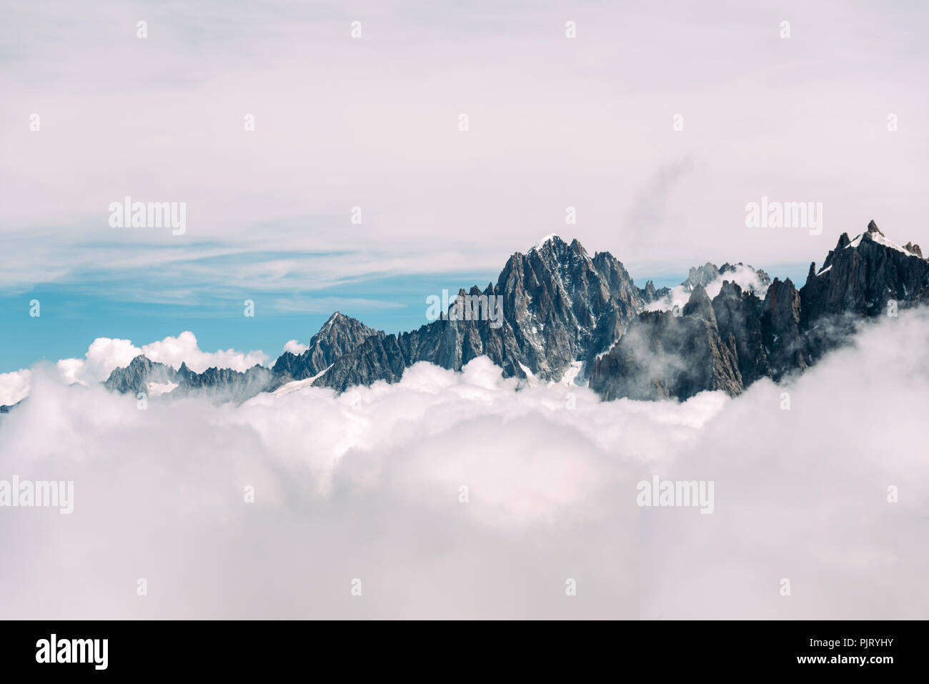 French Alps Above the Clouds - Stock Image