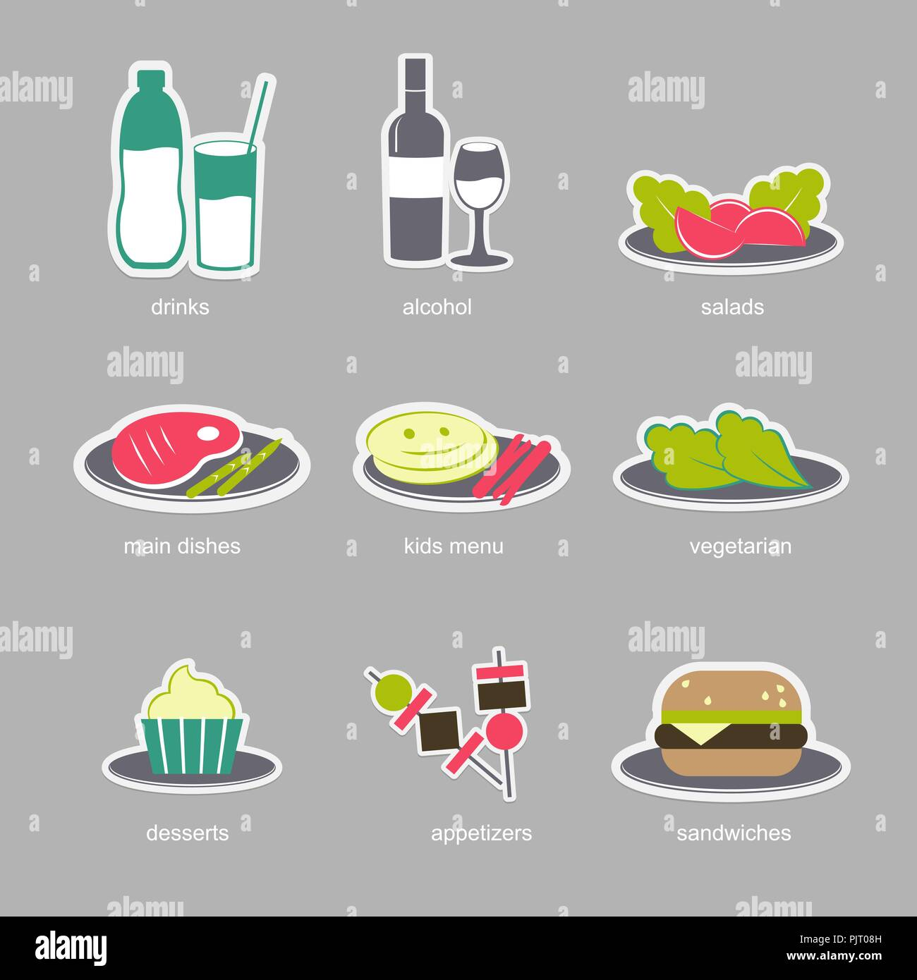 colorful food icons on gray background restaurant menu food and