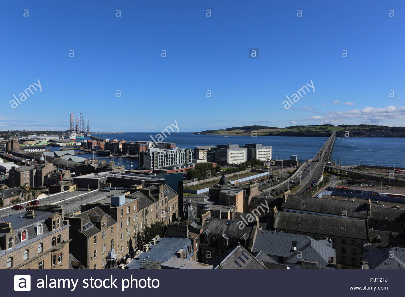 Elevated view of Port of Dundee, City Quay  and Tay Road Bridge Dundee Scotland  September 2018 - Stock Image