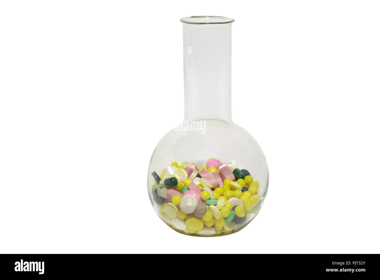 laboratory glassware with multicolored pills. Florence flask. glass vessel for storing and boiling of chemicals - round body, flat bottom, single long - Stock Image