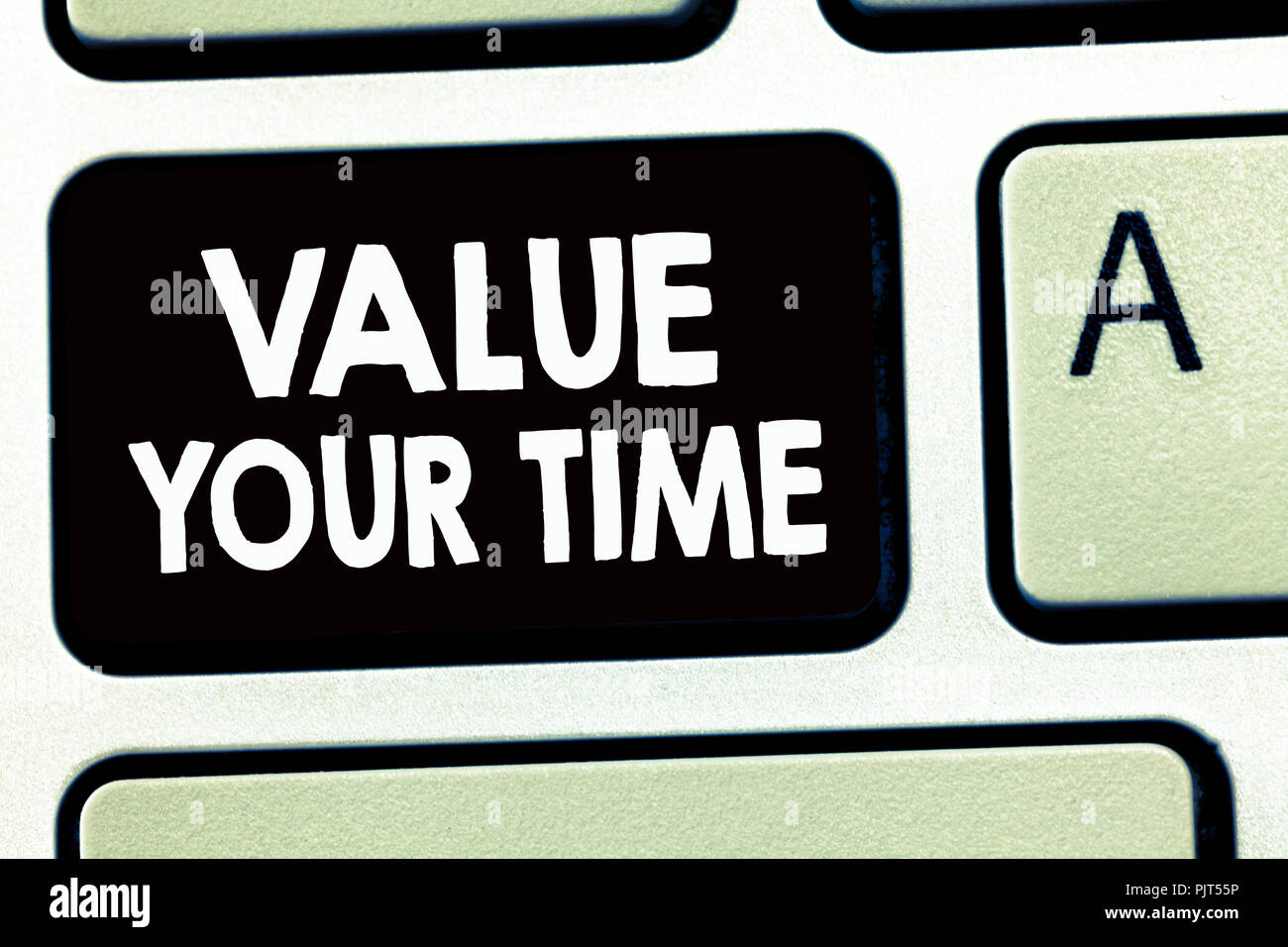 Writing note showing Value Your Time. Business photo showcasing asking someone to make schedule and get beat of his life. - Stock Image