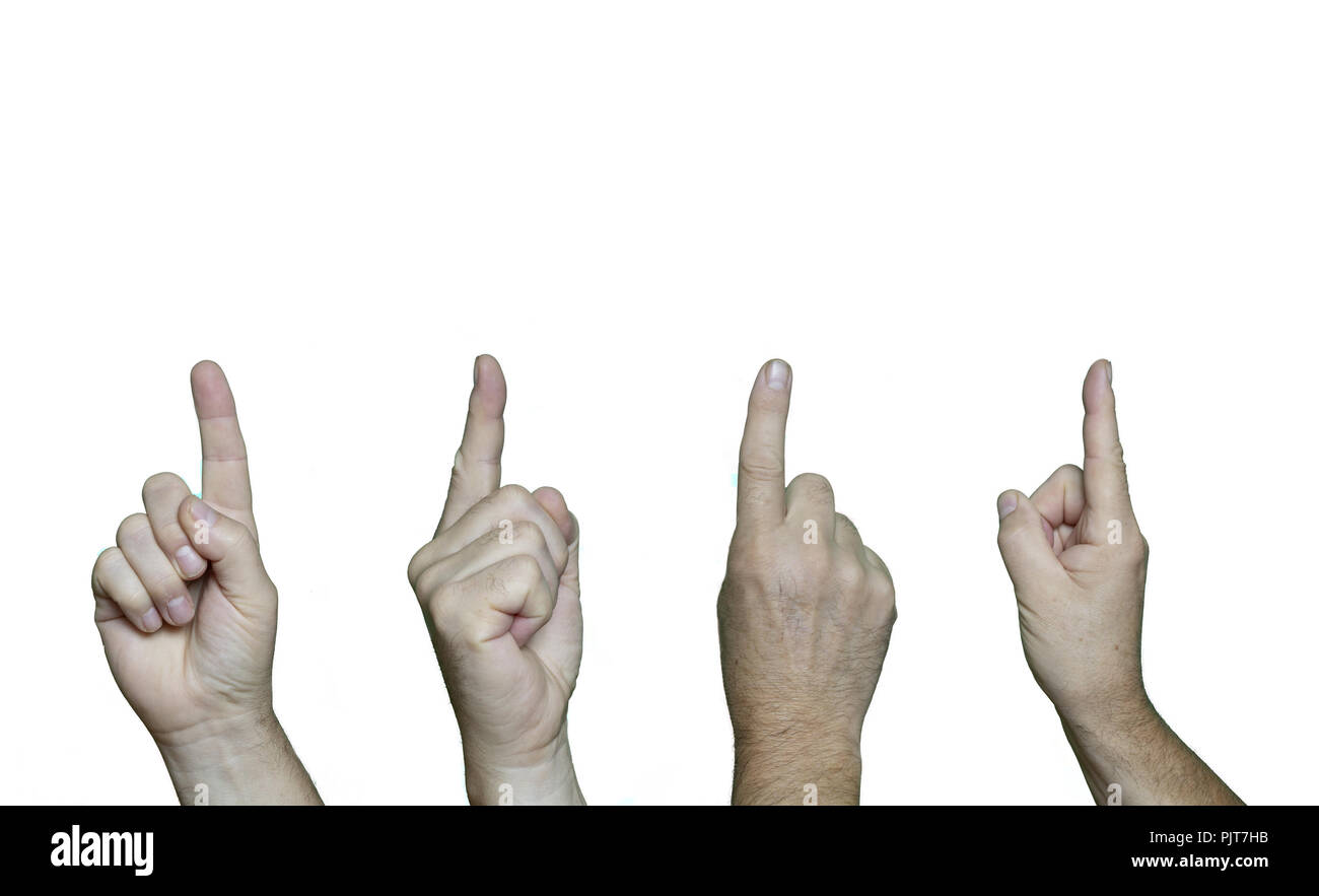 various hands pointing upwards with the index finger. - Stock Image