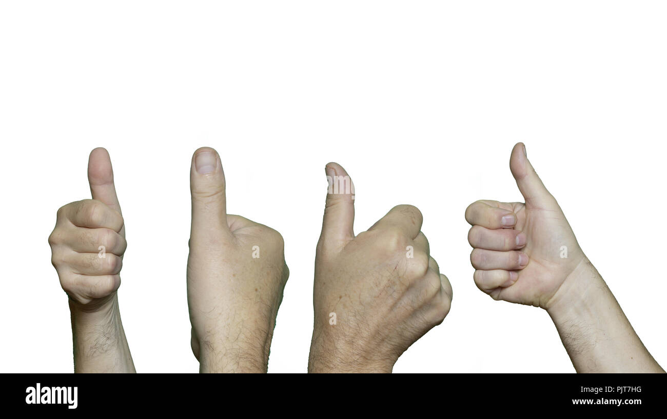 various hands pointing upwards with the thumb finger. - Stock Image