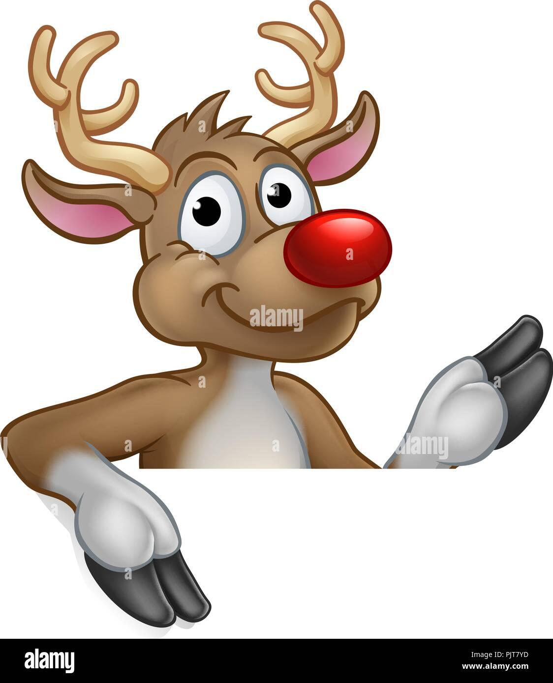 Reindeer Christmas Cartoon Character - Stock Image