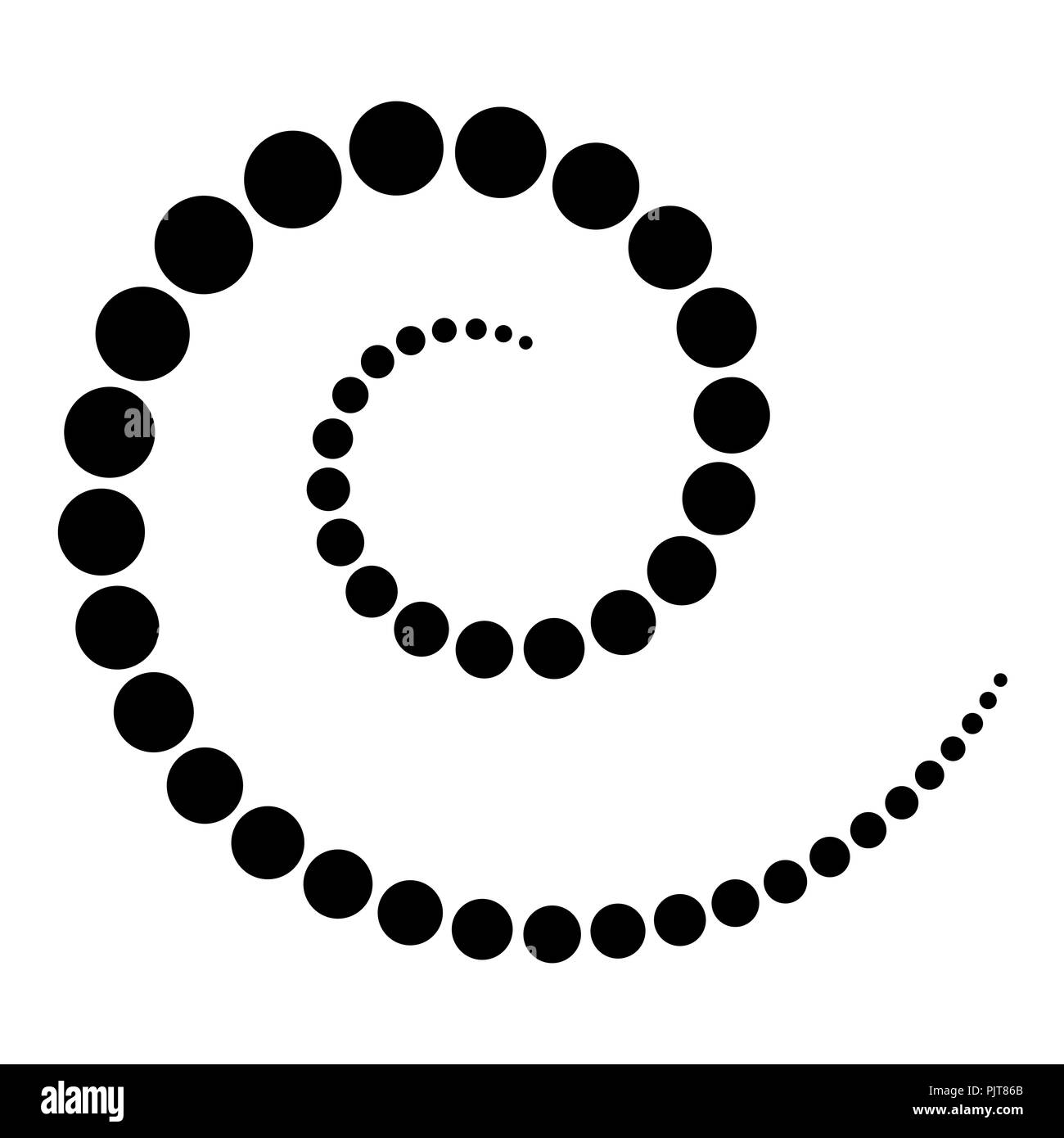 Spiral made of black dots. Increasing points from the center of the spiral which then become smaller again. Black isolated illustration on white. - Stock Image
