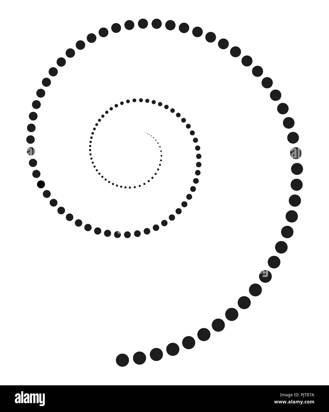 Black spiral made of increasing dots. Points from the center of the spiral getting bigger and forming a spiral. Black isolated illustration. - Stock Image