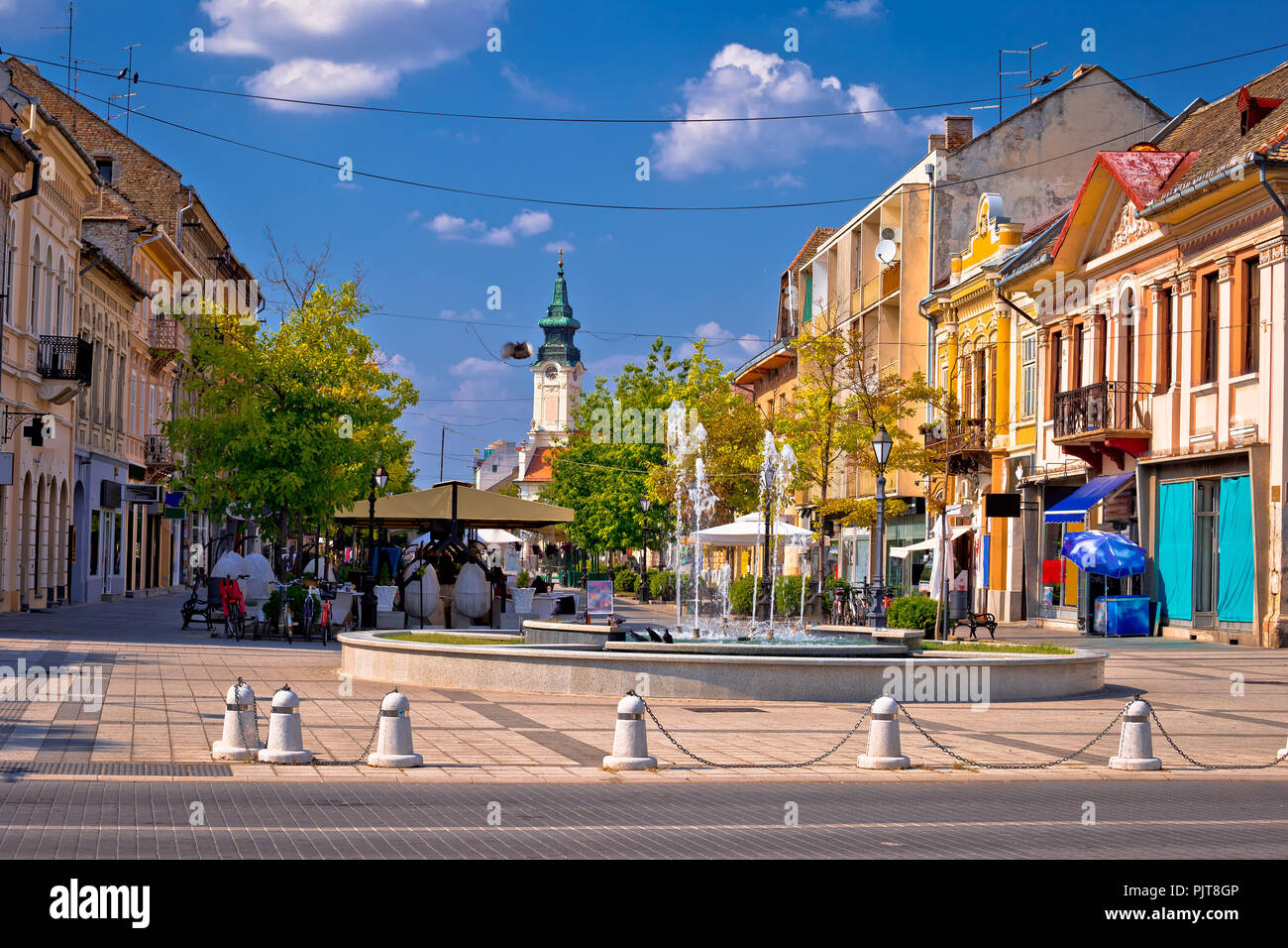 Town of Sombor square and architecture view, Vojvodina region of Serbia - Stock Image