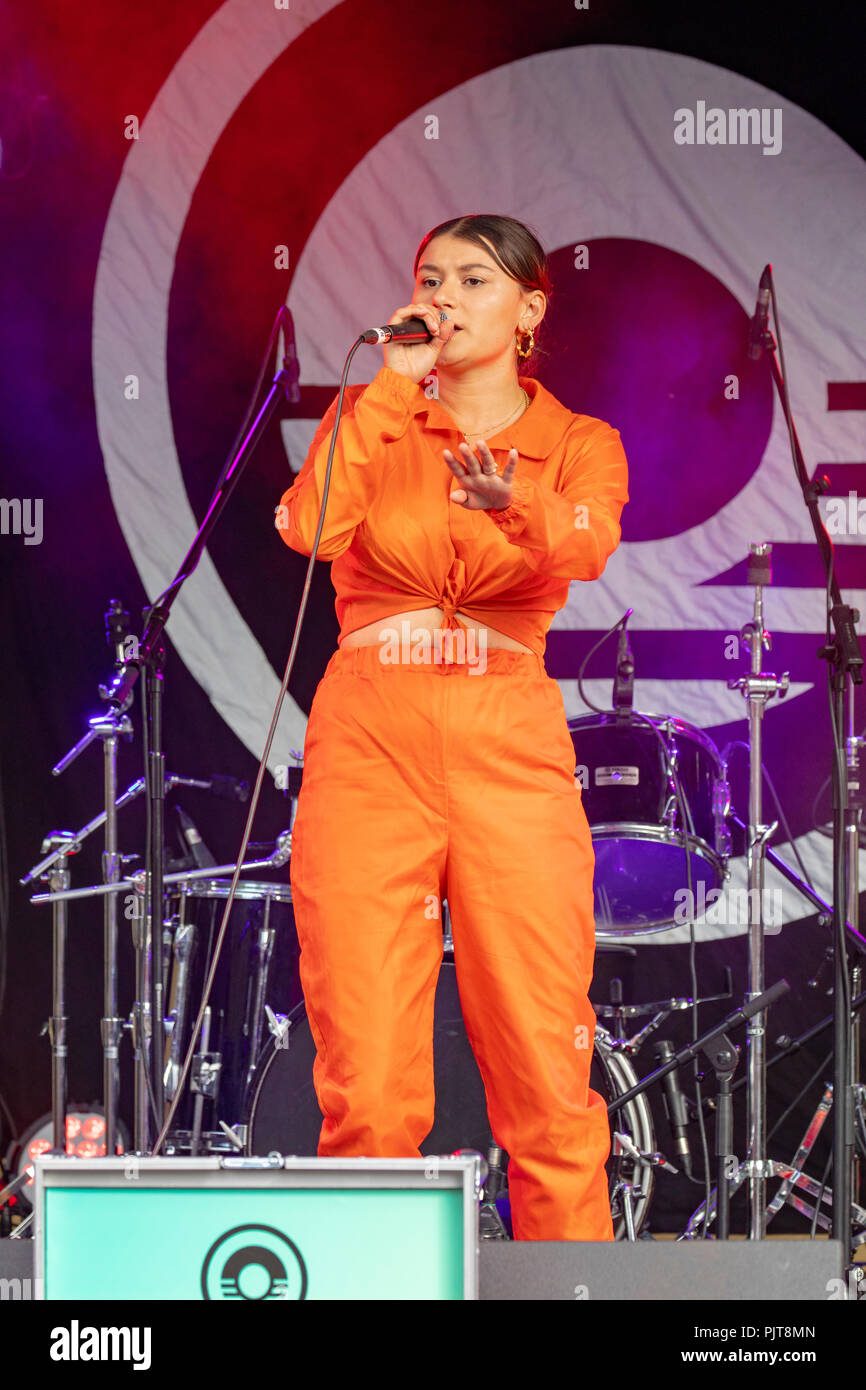 Marged performing live at the Y Bandstand at Festival Number 6, Portmeirion, Wales - Stock Image