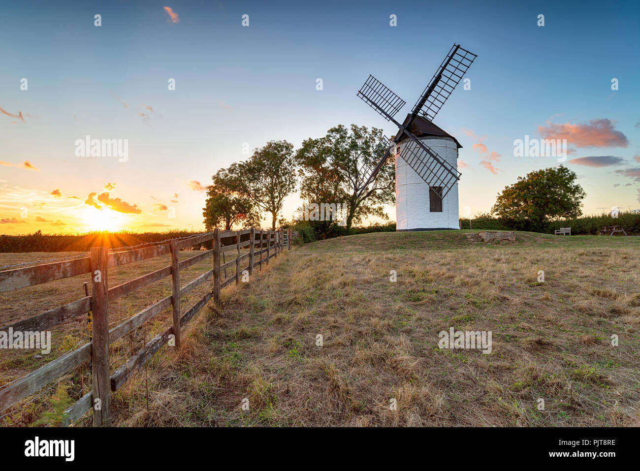 Sunset over Ashton Windmill at Wedmore in the Somerset countryside - Stock Image