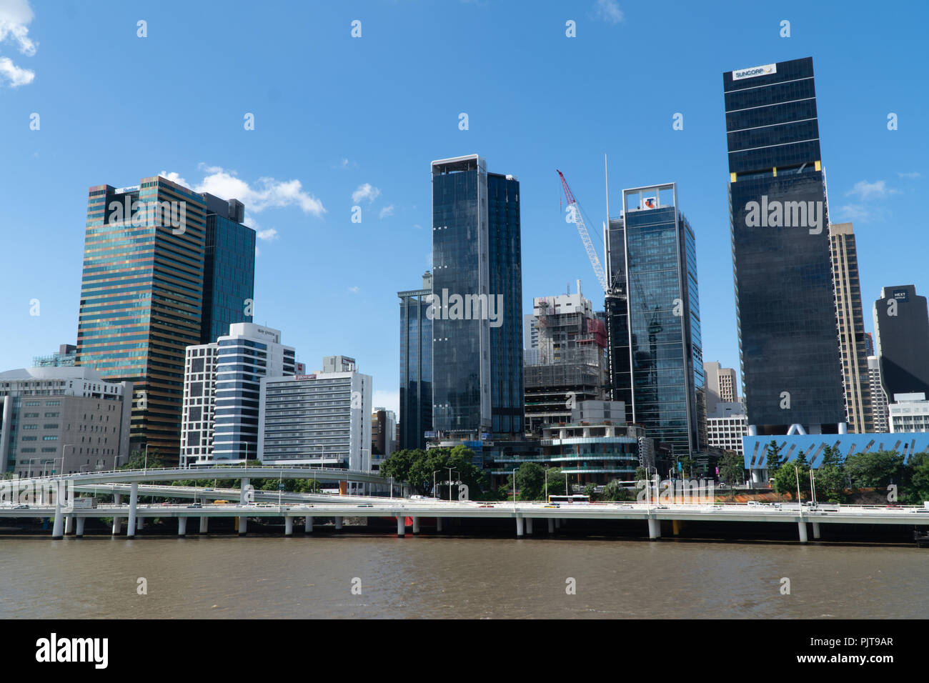 Skyline of Brisbane City from the opposite side of the river - Stock Image