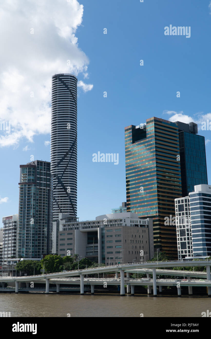 Downtown Brisbane skyline with the River Highway in the foreground - Stock Image