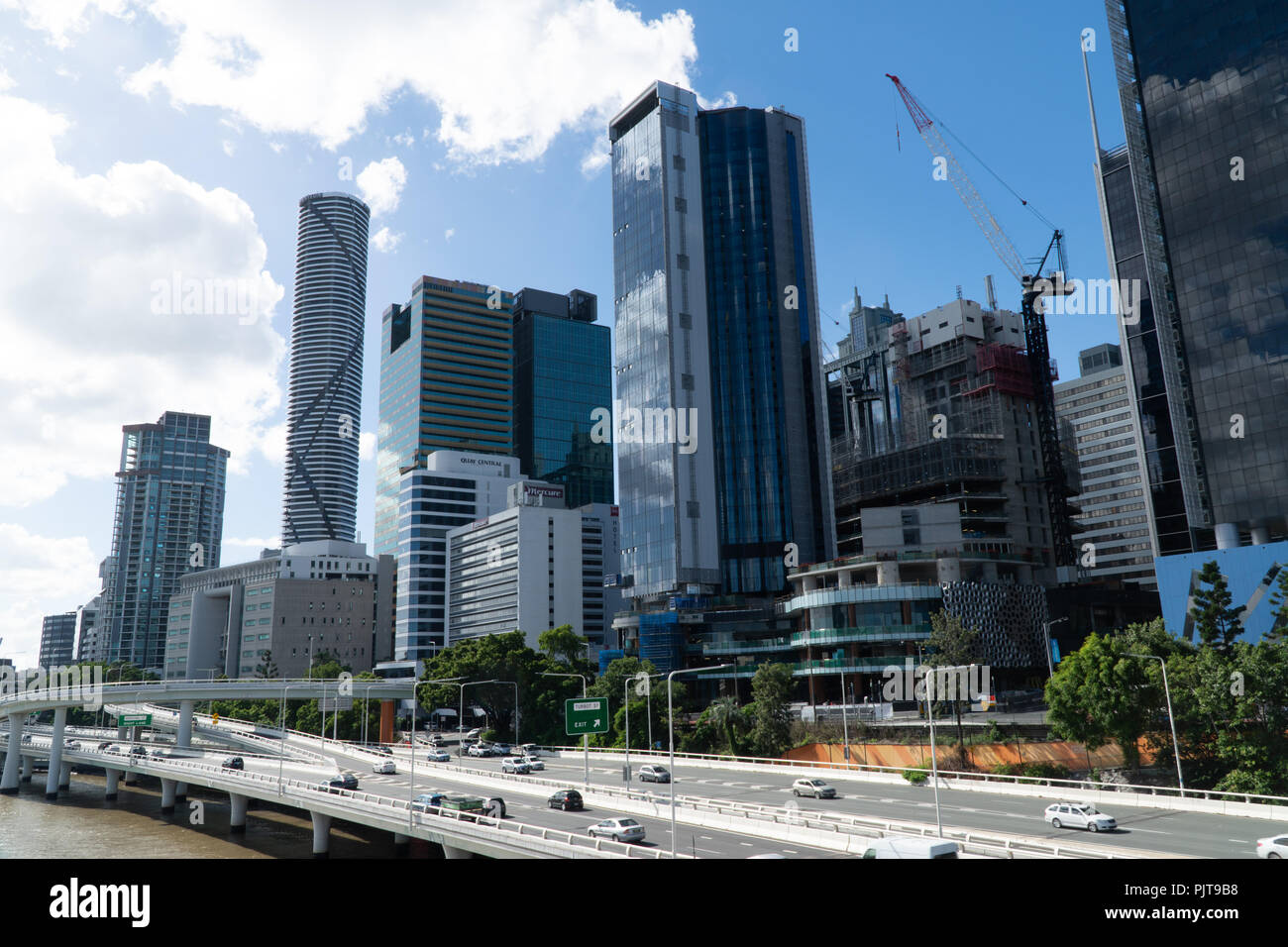 Downtown Brisbane skyline at a sunny day - Stock Image