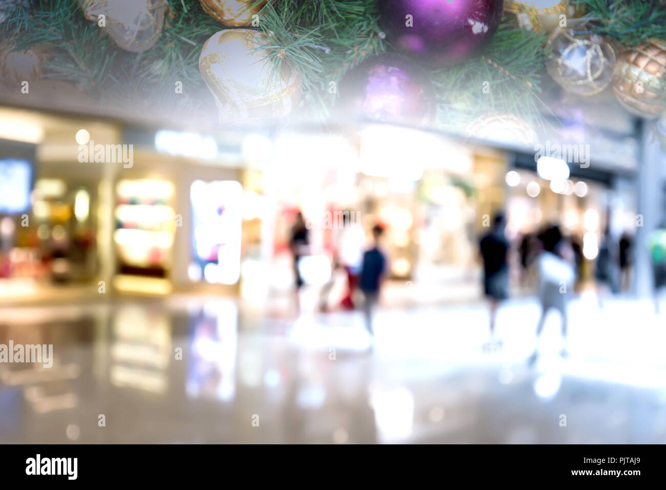 Abstract blur image of shopping mall with Christmas decoration on ...