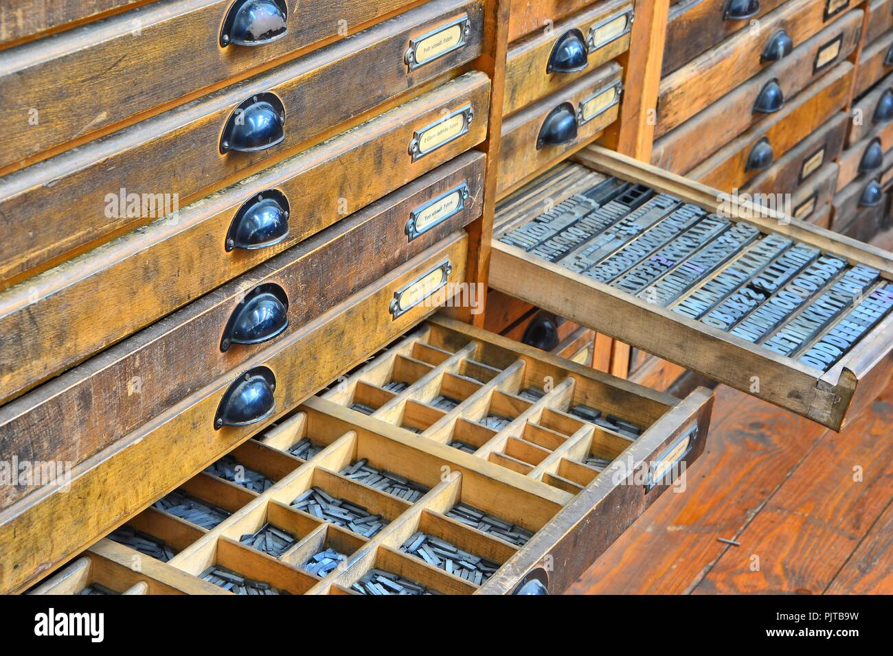 Accessories of an old printing house in the Technical Museum in Magdeburg - Stock Image