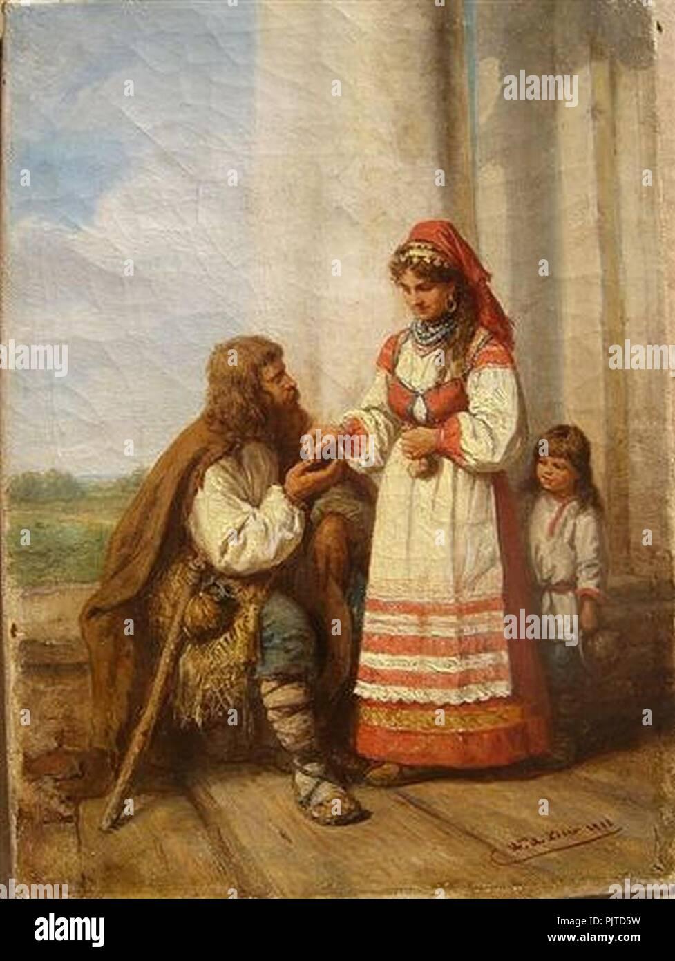 Beer Das Almosen 1883. - Stock Image