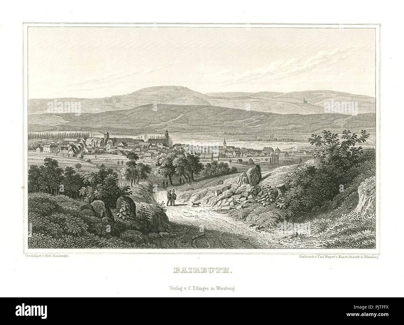 Bayreuth Stahlstich 1847. - Stock Image