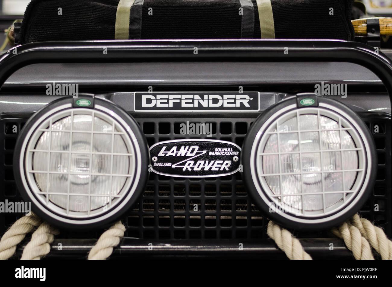 Land Rover Defender logo - Stock Image