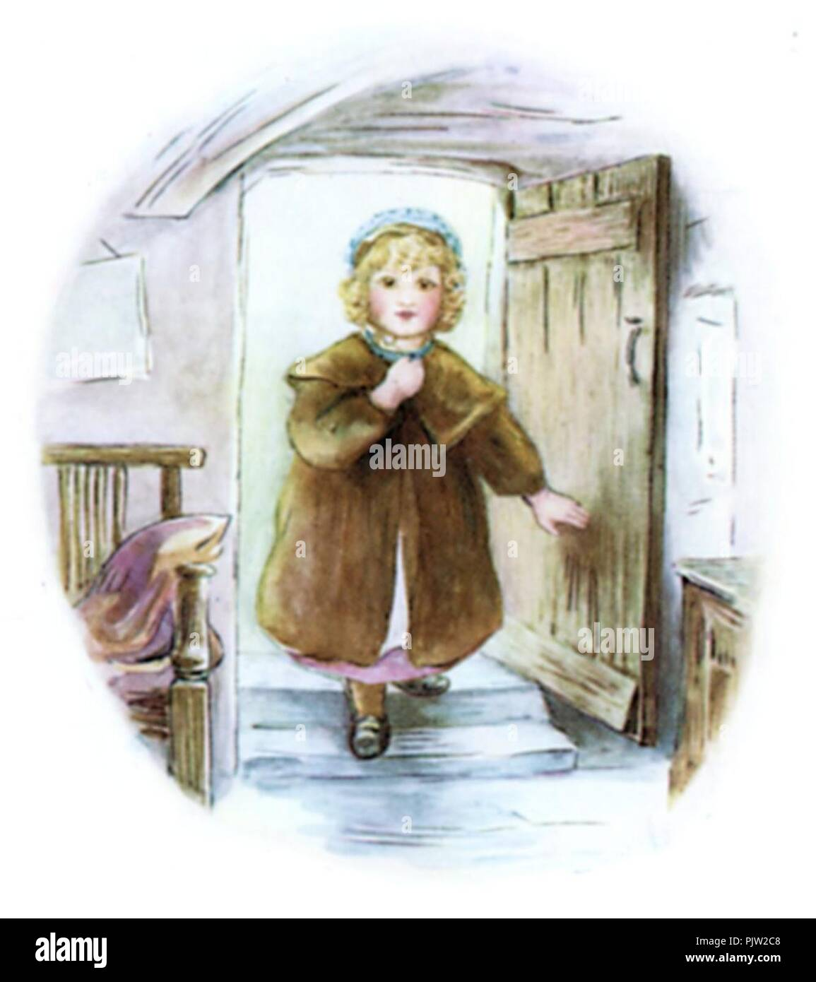 Beatrix Potter, Mrs Tiggy-Winkle, Lucie enters. - Stock Image