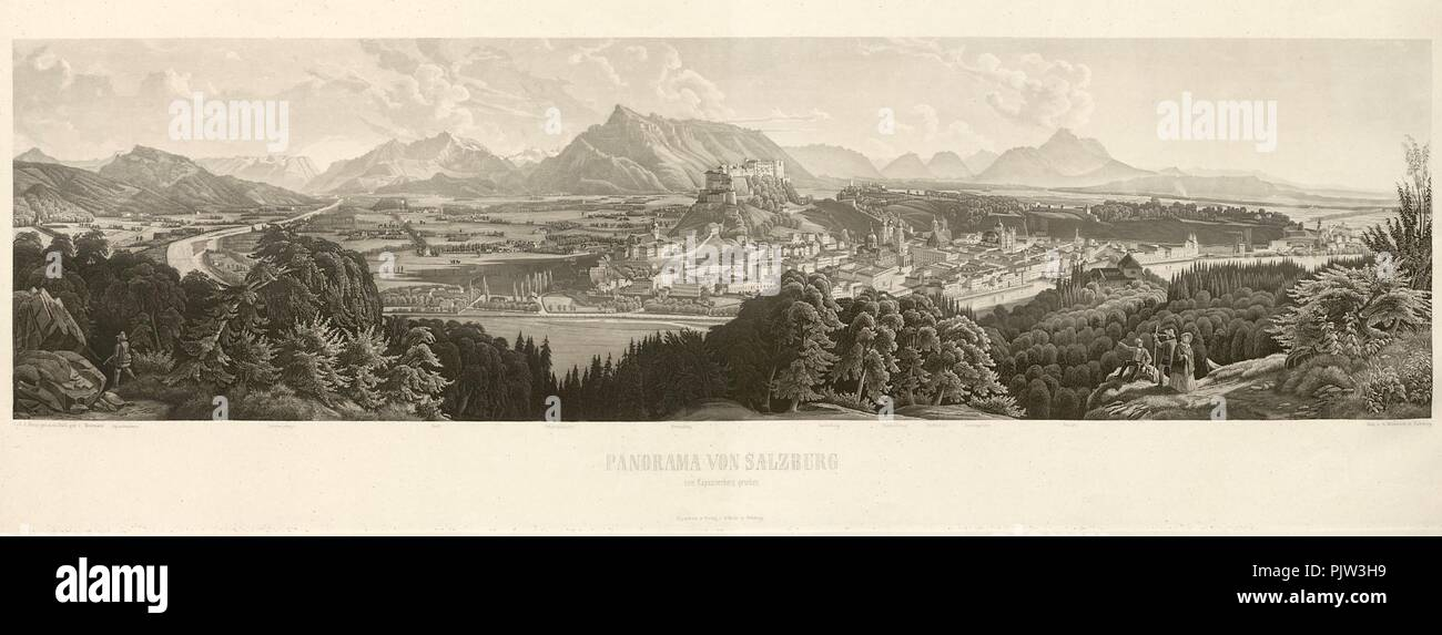 Beda Weinmann Panorama von Salzburg G 1174 IV Stock Photo: 218139861
