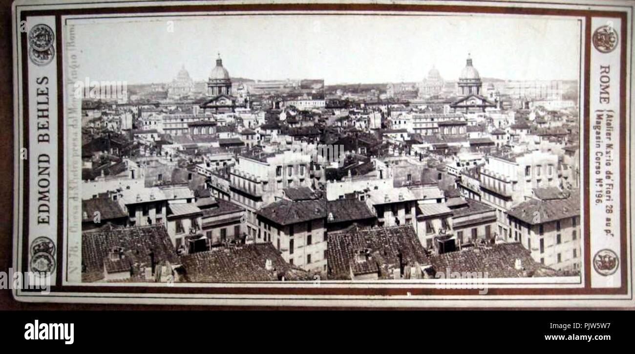 Behles, Edmond (1841-1924) - n. 078 - Chiesa di S. Pietro presa dal Monte Pincio (Roma). - Stock Image