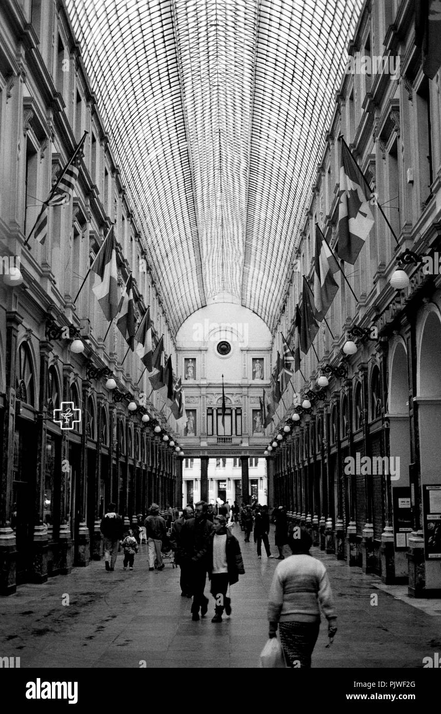 The Galeries royales Saint-Hubert in Brussels (Belgium, 1993) - Stock Image