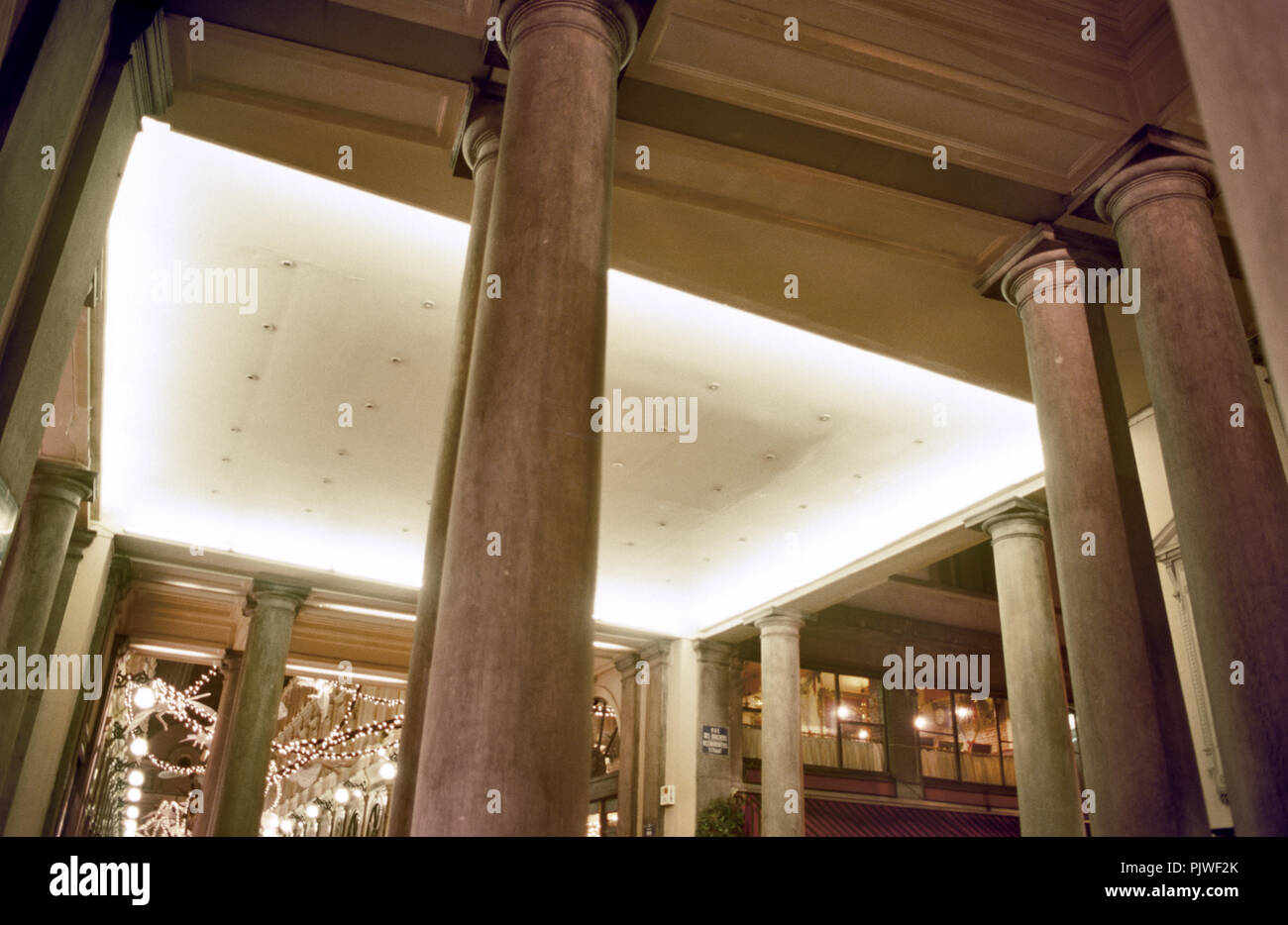 the Galeries royales Saint-Hubert in Brussels centre at night with Christmas decorations (Belgium, 10/12/2002) - Stock Image