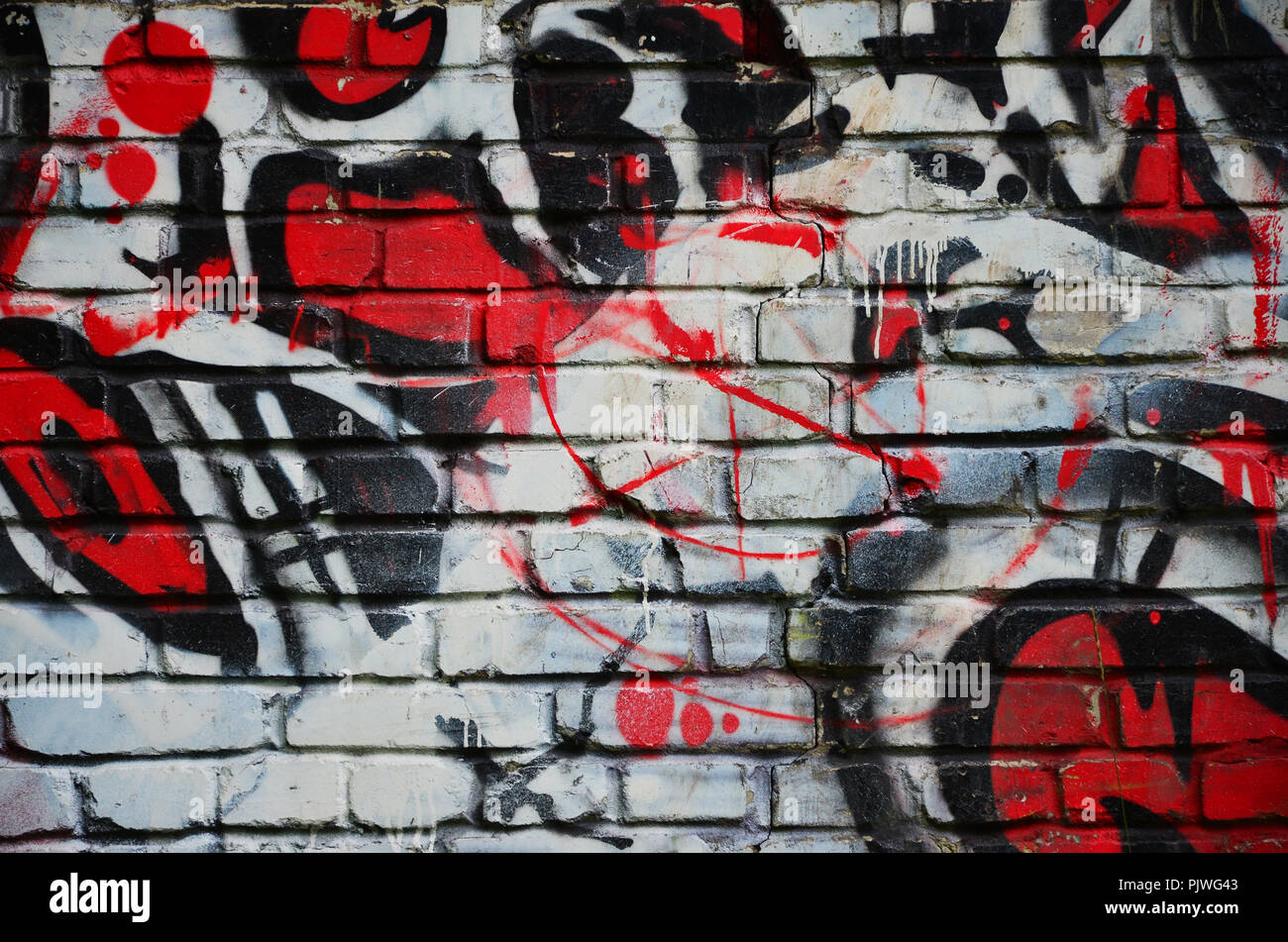Some elements of a large and composite graffiti pattern on