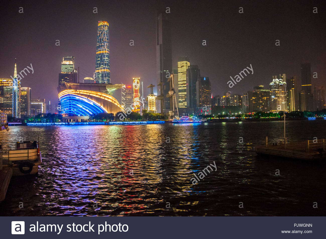 View over the Pearl River to the Zhujiang New Town area, showing the opera house ifc and ifp buildings - Stock Image