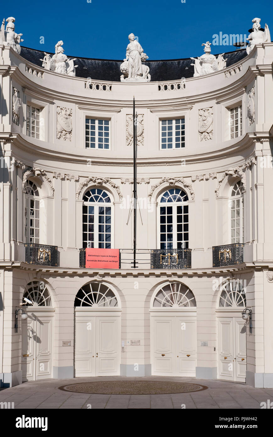 The neo-classical palace of Charles of Lorraine on the Place du Musée in Brussels, housing the Royal Library of Belgium (Belgium, 22/10/2011) - Stock Image