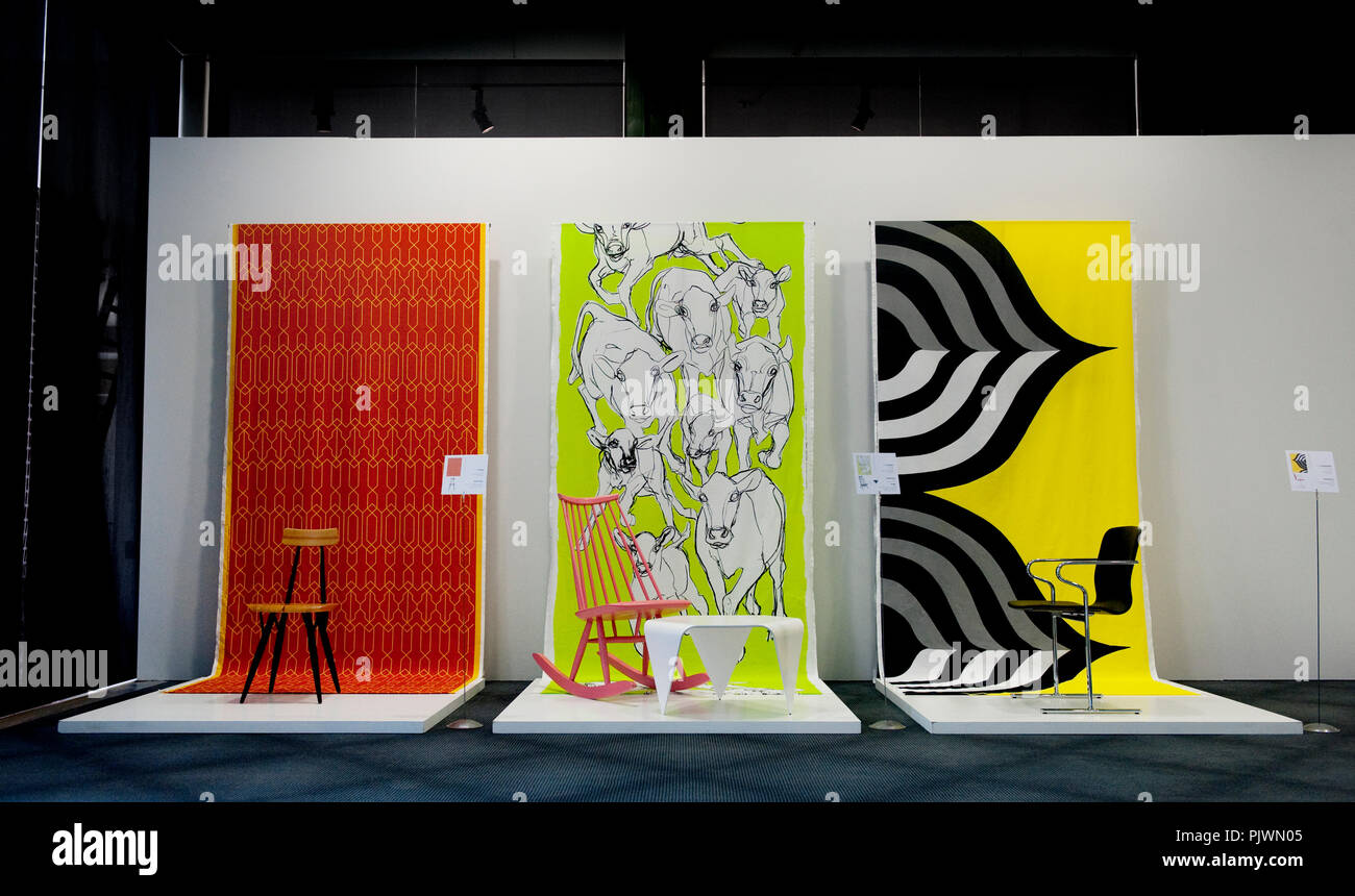 The new exhibition 'Cool Dozen+' presents the evolution of Finnish design by way of 13 chairs and 13 textile objects, in the Designmuseum of Ghent (Be - Stock Image