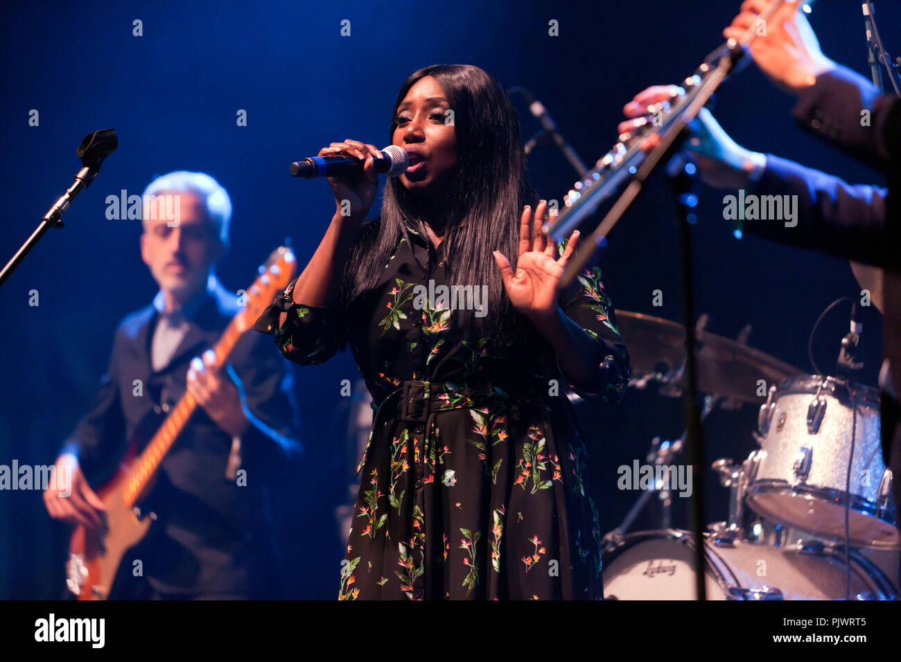 Yvonne Yanney performing with the James Taylor Quartet on stage 2 of the OnBlackheath Music Festival, Lewisham, London - Stock Image