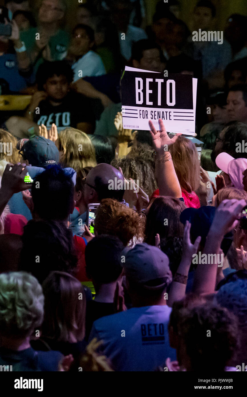 Beto O'Rourke's  Supporter Holds Sign Beto for Senate at a Political Rally in Houston Credit: michelmond/Alamy Live News - Stock Image
