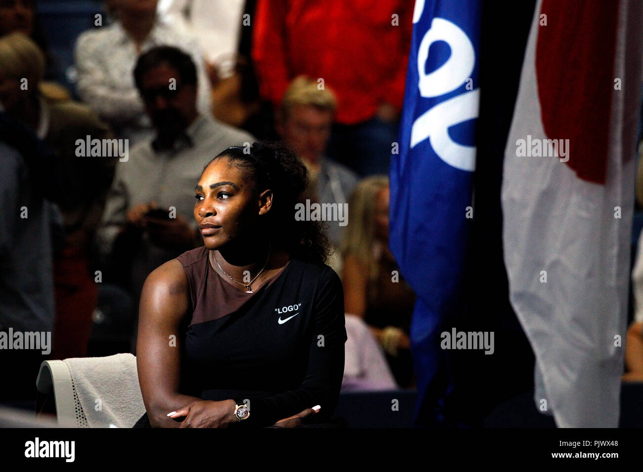 New York, USA. 8th September 2018.  US Open Tennis:   Serena Williams moments after her loss to Naomi Osaka of Japan in the US Open women's final.   Williams was penalized a game at 4-3 in the final set, which added controversy to the match. Credit: Adam Stoltman/Alamy Live News - Stock Image